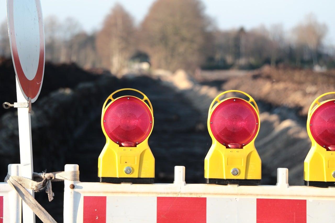 roadblock lights closeup