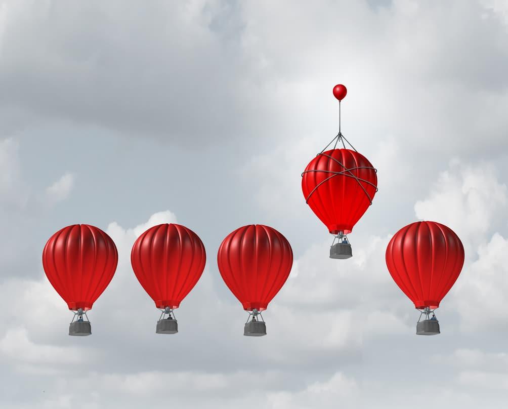 group of hot air balloons
