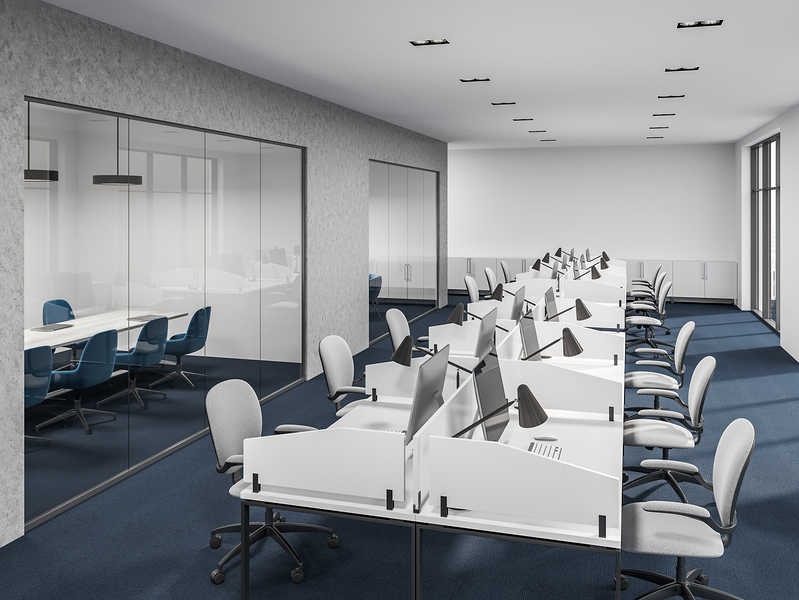 White and concrete office cubicles with computer desks inside. White office chairs and large windows. A conference room in the background. 3d rendering mock up